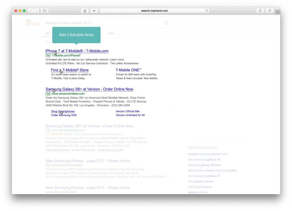 ads clickable area example