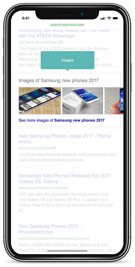 integrating vertical results within algo results mobile