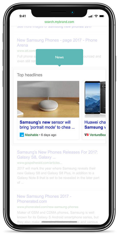 integrating vertical results within algo results new content mobile