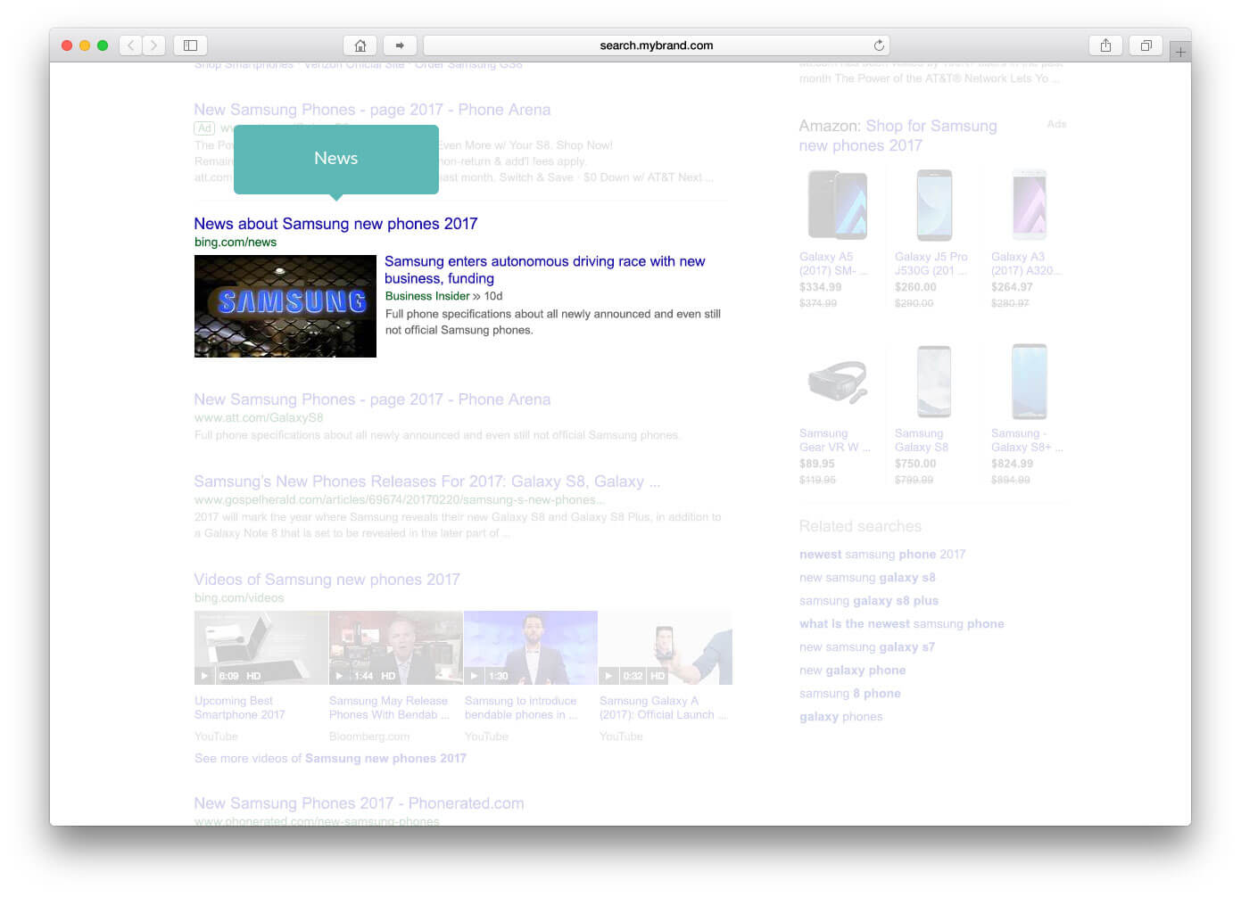 integrating vertical results within algo results new content