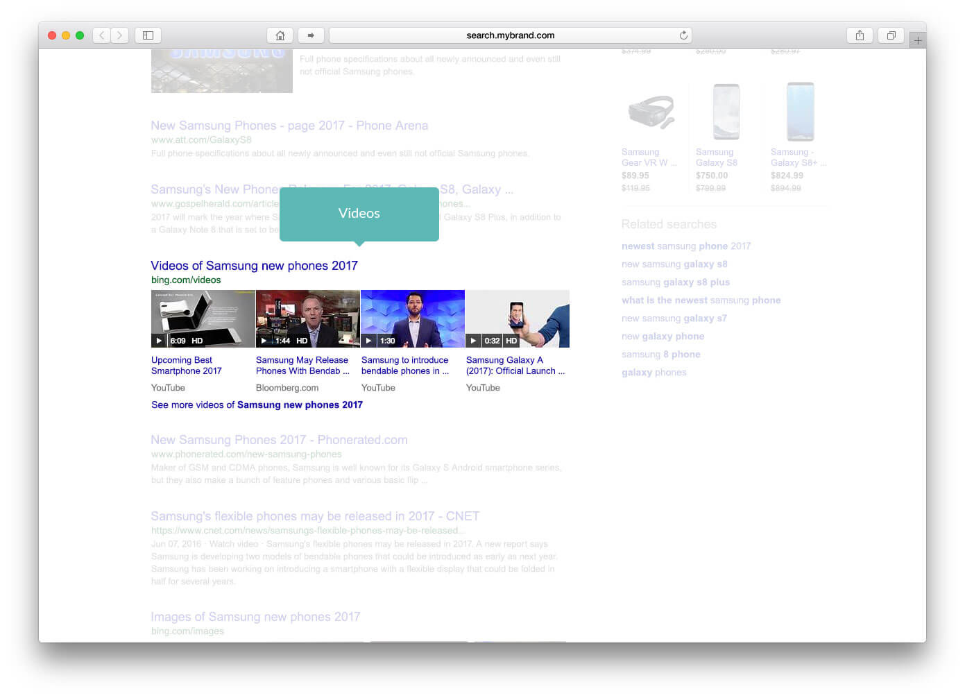 integrating vertical results within algo results video content
